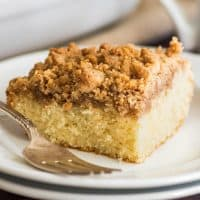 This Mini Coffee Cake is light and fluffy with an insane buttery, crunchy, crumbly streusel layer over the top. It serves four, but you might not want to share. | #Breakfast | #BreakfastForTwo | #CoffeeCake | #MiniCake |