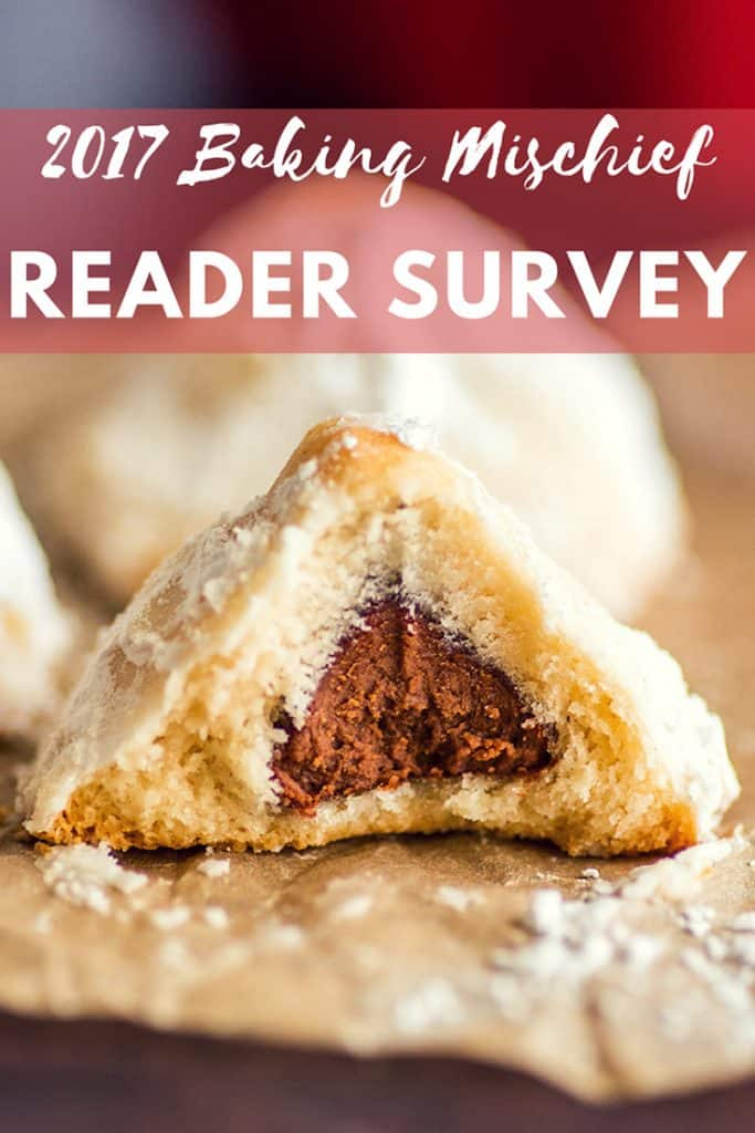 This is your chance to help shape the content of  Baking Mischief for 2018. Fill out this quick reader survey and tell me what you want to see on the blog next year!