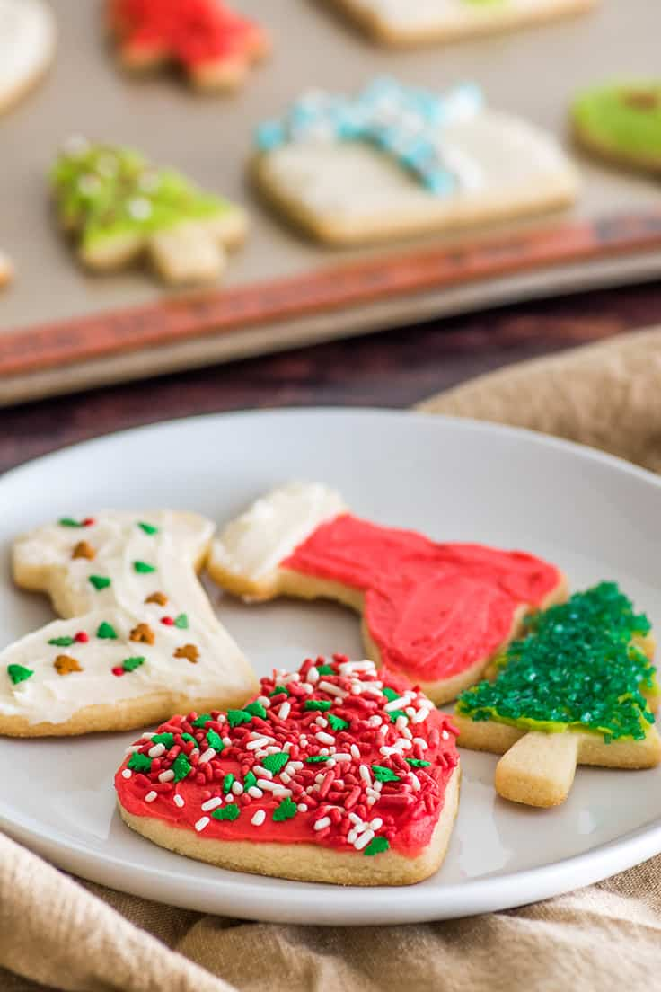 Decorated small-batch cut-out sugar cookies on a white plate.