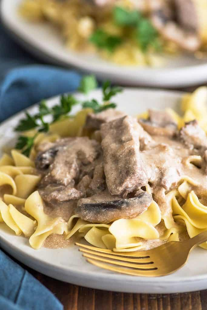 Photo of Easy Beef Stroganoff over egg noodles on a plate.