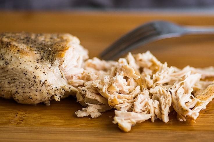 Photo of shredded chicken for Keto Chicken Soup.
