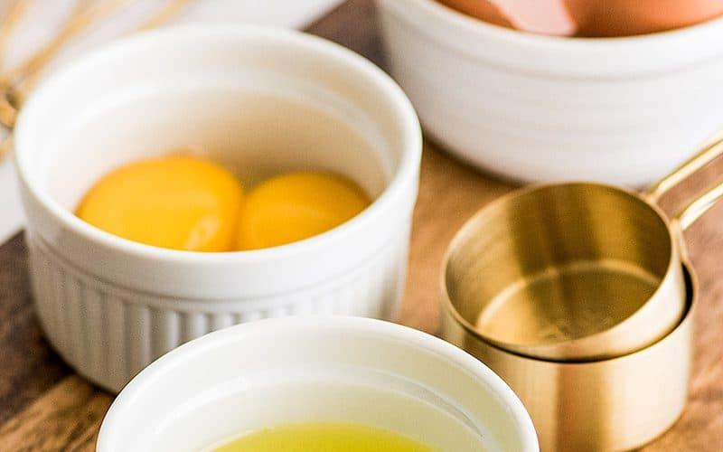 Photo of egg whites in a white ramekin.