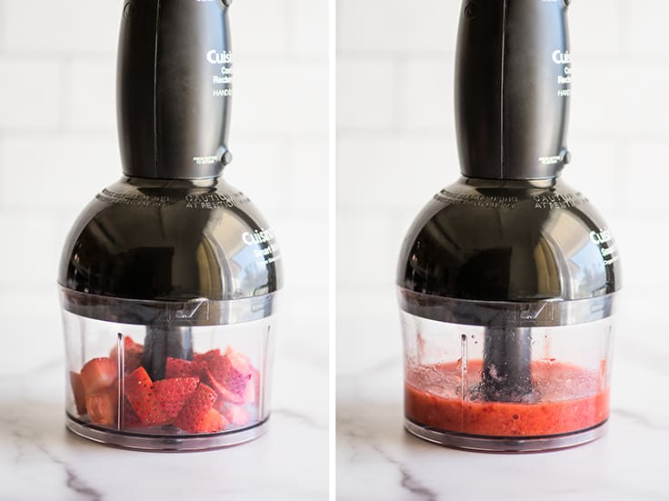 Collage picture of strawberries being pureed for strawberry frosting.