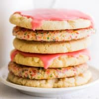 Stack of Small-batch Sugar Cookies on a white plate.