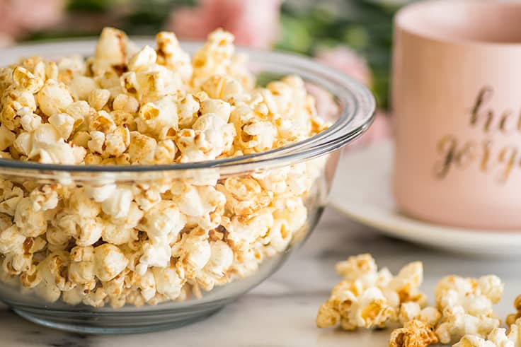 Photo of Brown Sugar Kettle Corn in a bowl.