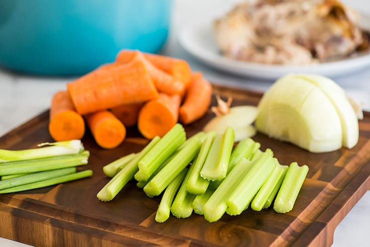Picture of vegetables cut for homemade chicken stock.