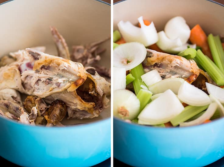 Image of homemade chicken stock ingredients in a blue pot.