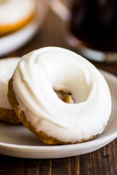 Pumpkin Donuts With Cream Cheese Glaze