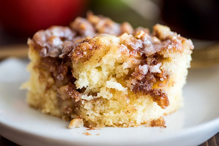Picture of Small Apple Cinnamon Cake with a bite taken out of it on white plate.
