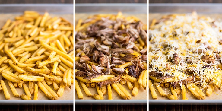 Step by step photo of carnitas nacho fries assembly.