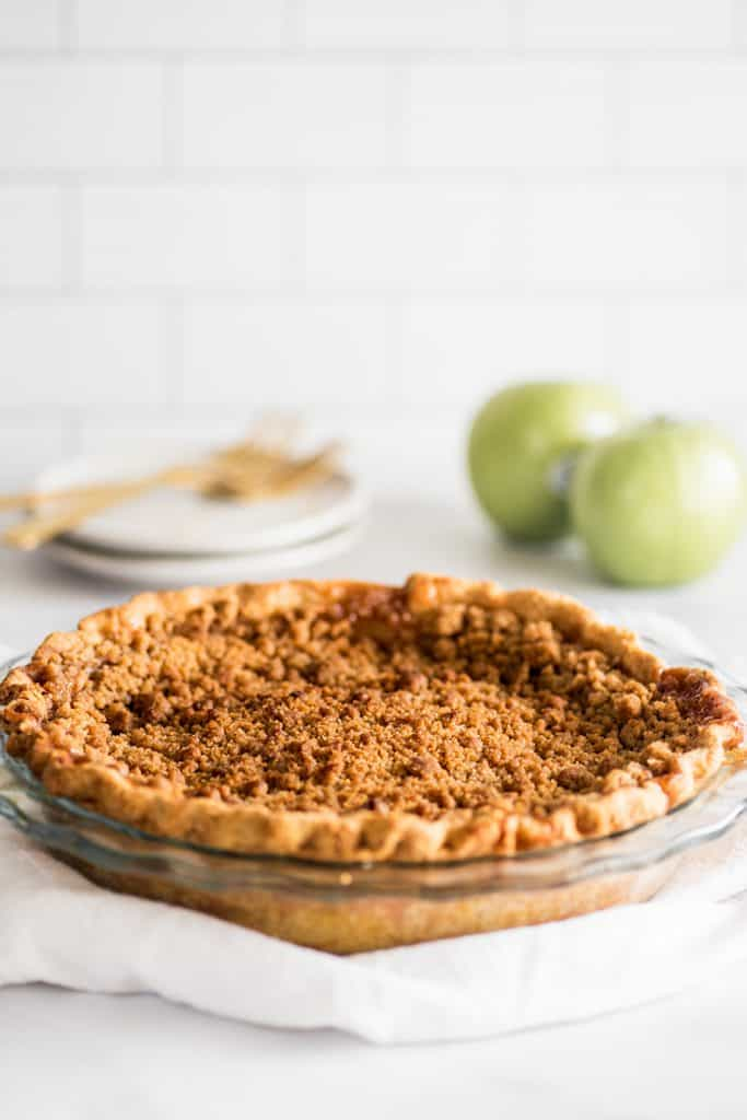 Photo of a whole Dutch Apple Pie.