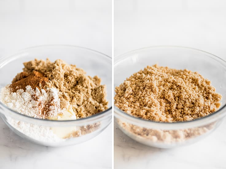 Collage photo of step 1 of Dutch Apple Pie, brown sugar topping before and after mixing.
