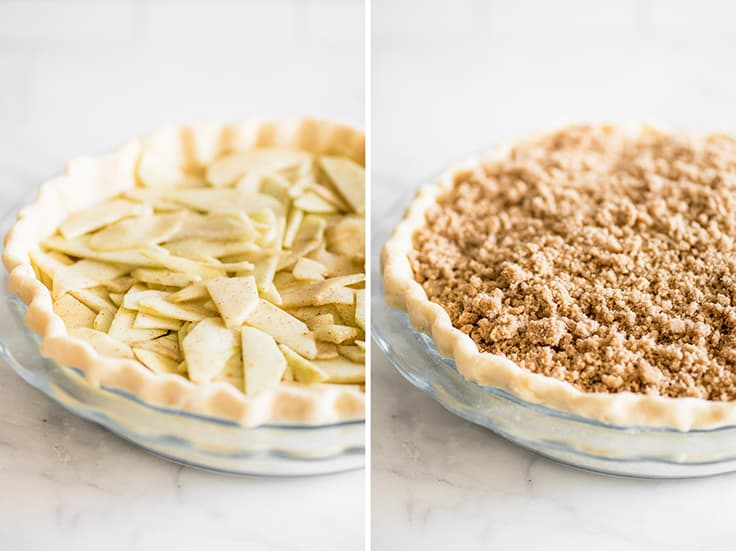 Collage photo of unbaked dutch apple pie before and after brown sugar crumble is added.