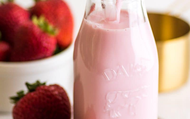 Easy Homemade Strawberry Milk for One or Two