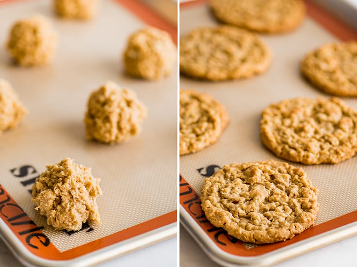 Collage photo of Peanut Butter Oatmeal Cookies before and after baking.