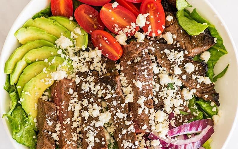 Overhead photo of Carne Asada Salad.