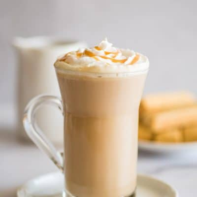 Dulce de leche latte with whipped cream.