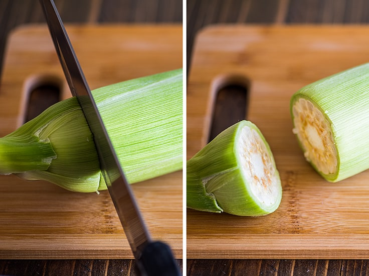 Collage photo of corn on the cob being cut.