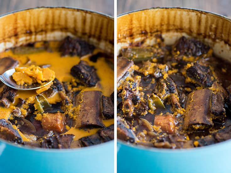 Collage image of fat being scraped off braised short ribs in a blue pot.