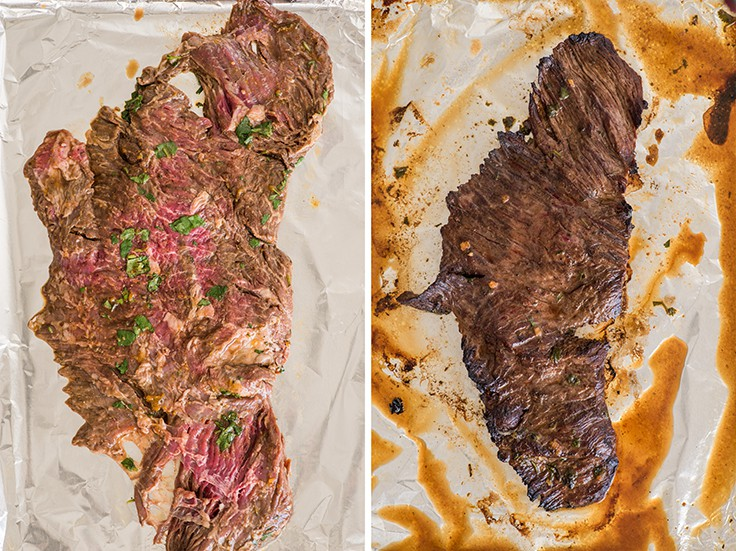 Collage photo of carne asada before and after being cooked under the broiler.