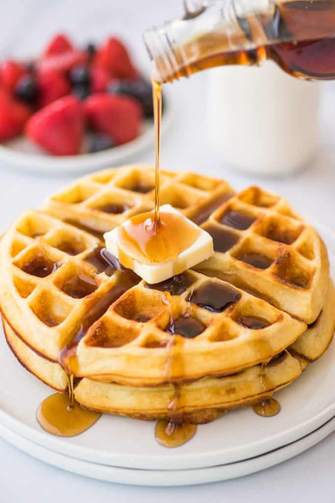 Crispy waffles for two on a plate.