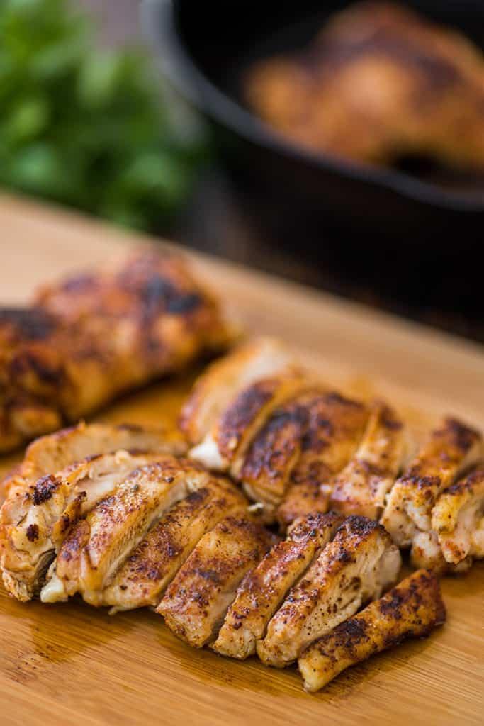 Sliced chicken thighs for chicken fajitas.