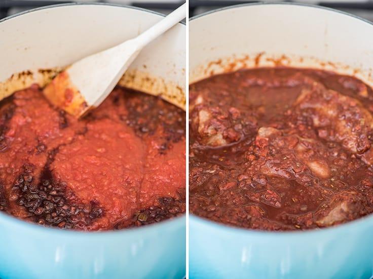 Collage photo of pork ragu sauce cooking.