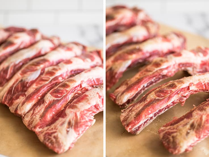 Collage photo of a rack of beef ribs whole and cut apart.