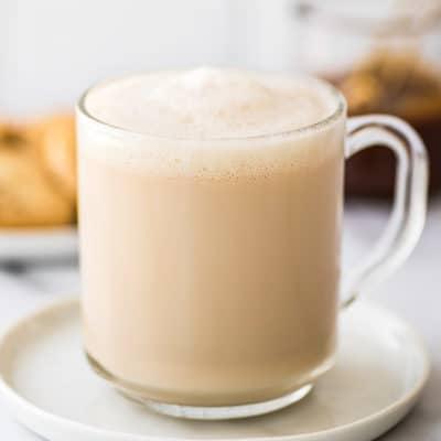 Caramel latte in a glass cup.