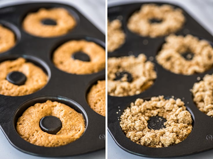 Collage photo of baked pumpkin donuts being assembled.