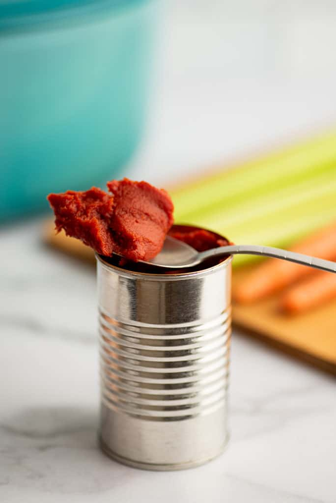 Spoonful of leftover tomato paste.