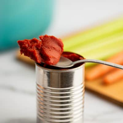 Spoonful of leftover tomato paste.