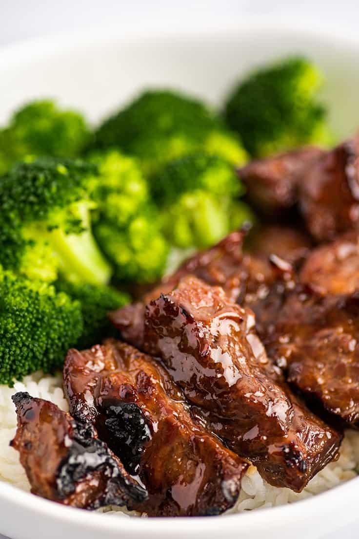 Beef Teriyaki with rice and broccoli.