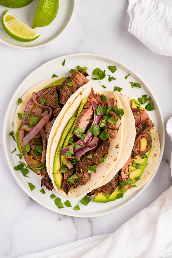 Overhead photo of carne asada tacos.