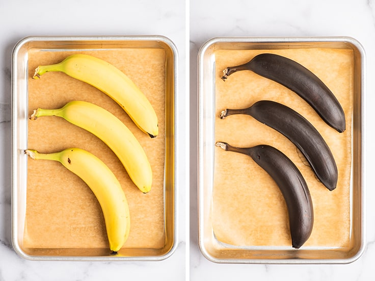 Collage of bananas before and after baking to ripen them.