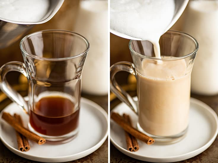 Collage photo of frothed milk being poured into a chai tea latte.