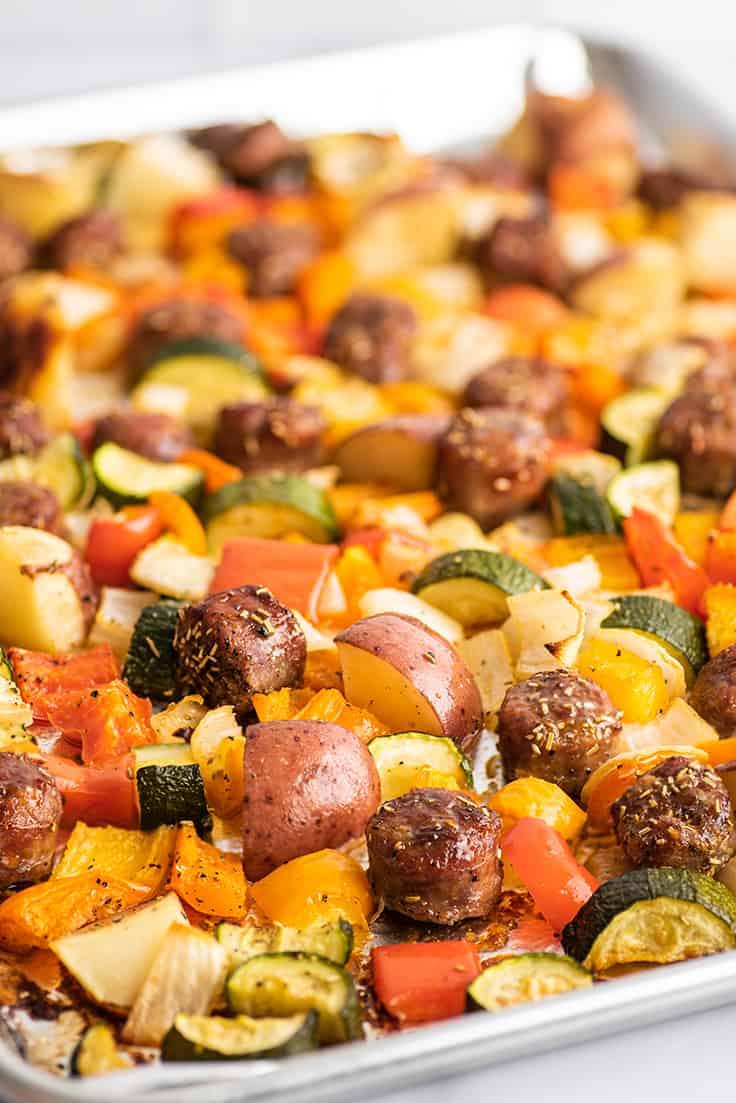 Sheet Pan Sausage and Veggies after roasting.