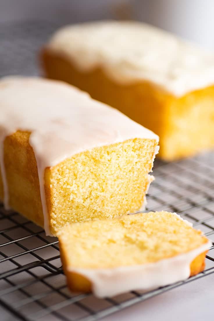 Glazed small lemon pound cake.