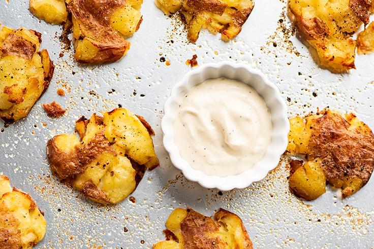 Smashed potatoes and garlic aioli.